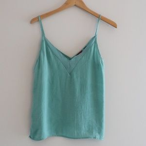 Buckle Green V Neck Camisole Tank